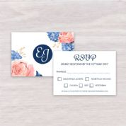 Hydrangea & Rose - RSVP with Envelope
